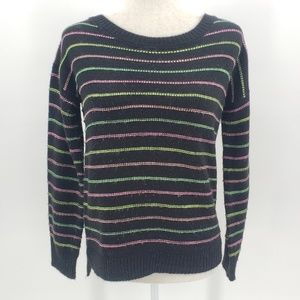 Poof! black & neon striped knit sweater Medium